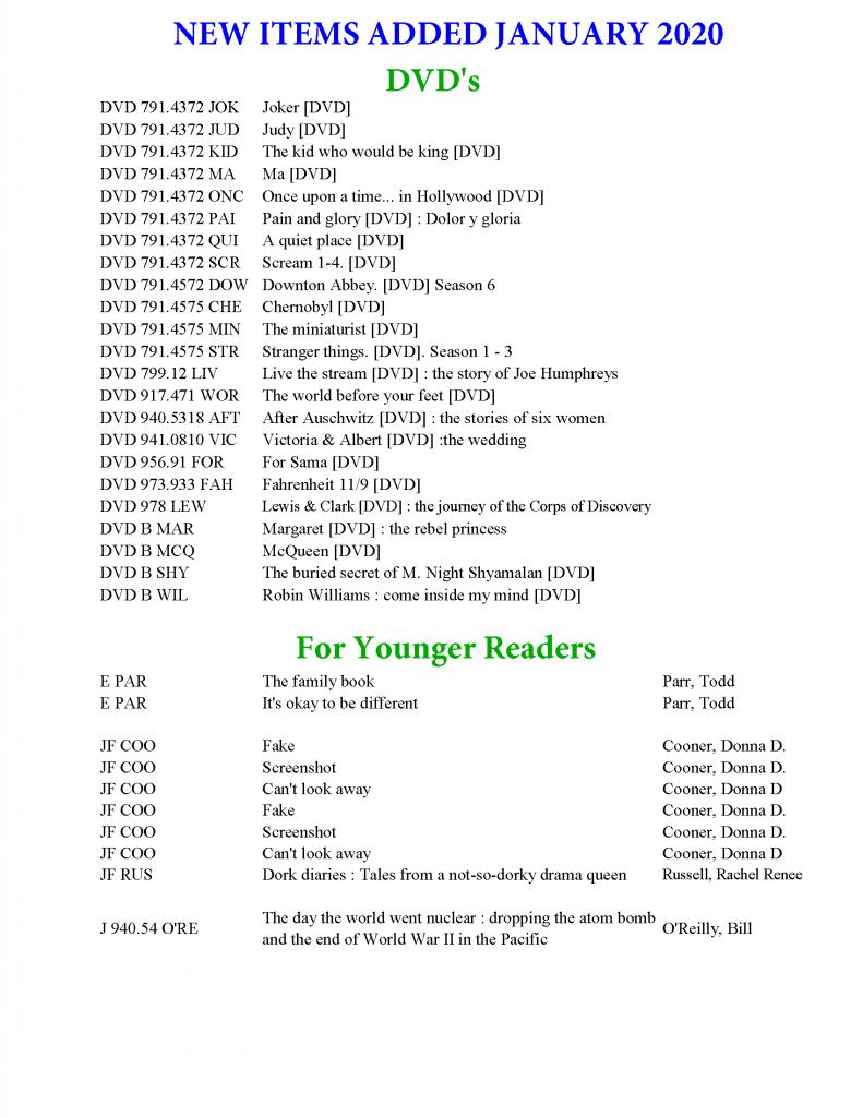 New Items Jan 2020-3